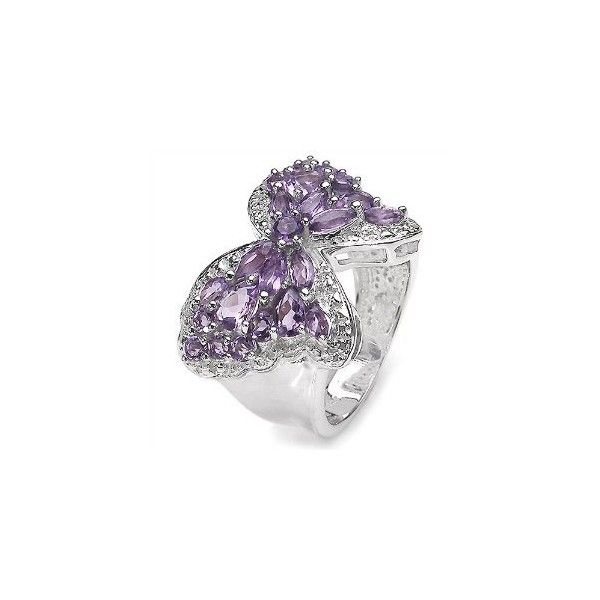3.40 Carat Genuine Amethyst Butterfly Theme Silver Ring: Jewelry found on PolyvoreTheme Silver, Silver Rings Jewelry