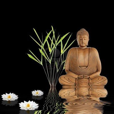 stock photo buddha sitting in an abstract zen garden with bamboo leaf grass and white japanese. Black Bedroom Furniture Sets. Home Design Ideas