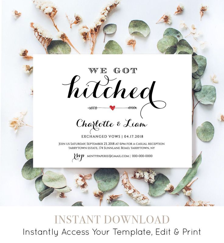Elope Announcement Template, DIY Wedding Elopement Invitation Printable, We Got Hitched, Instant Download, Fully Editable, Digital #NC-201EL by MintyPaperieShop on Etsy https://www.etsy.com/listing/385367704/elope-announcement-template-diy-wedding