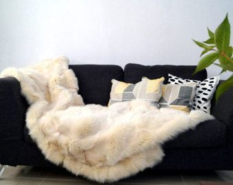 white fox real fox blanket throw