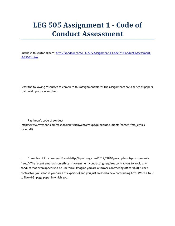 Leg 505 assignment 1 code of conduct assessment strayer university - code of conduct example