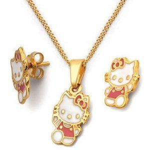"""Hellow Kitty Gold Plated Sets Cracco Joyas. $20.00. Beautifull Hellow Kitty pair of earrings with matching pendant. Necklace is 18"""" long. Nickle Free. Brazilian 18k Gold plated"""