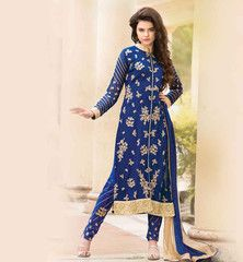 VALUE FOR MONEY PARTY WEAR SALWAR KAMEEZ SUIT Inspire everybody at the parties by wearing this lovely value for money designer Indian Women's party wear salwar kameez crafted beautifully from georgette fabric and enhanced to the next level by zari, embroidery, stone work, patch butta and lace border