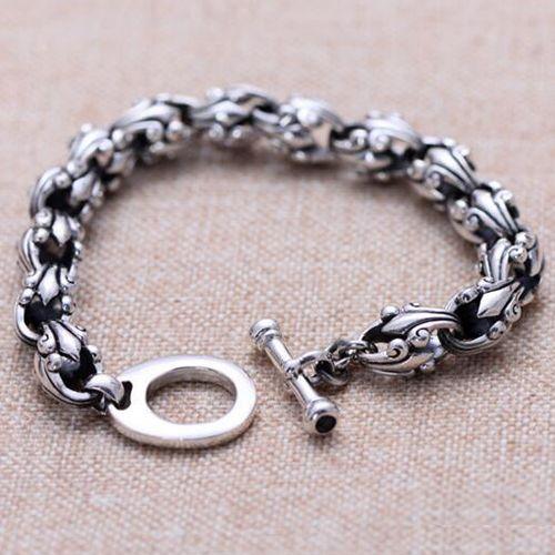 Men's Sterling Silver Cross Flora Bracelet