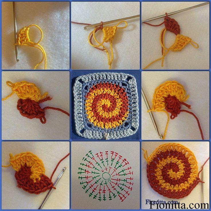 Crochet square motifs   Fionitta, Spiral granny square