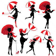 Image result for silhouettes of people with umbrellas