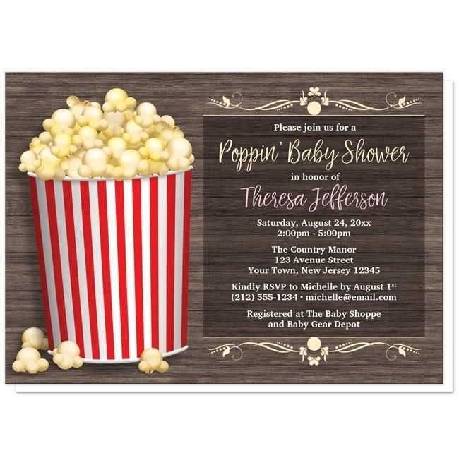 """I wanted to share with you these Popcorn Bucket Rustic Wood Baby Shower Invitations? Do you like them?  