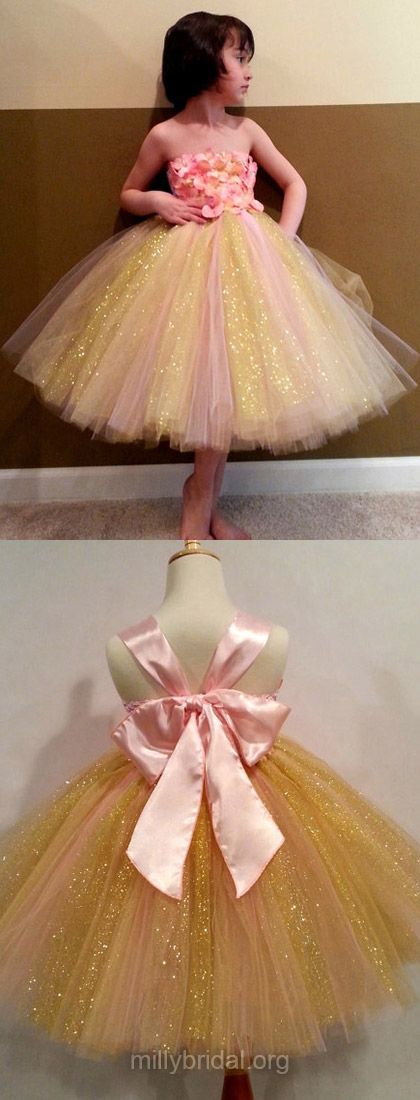 Ball Gown Flower Girl Dress Multi Colours, Tulle with Bow Flower Girl Dress Strapless