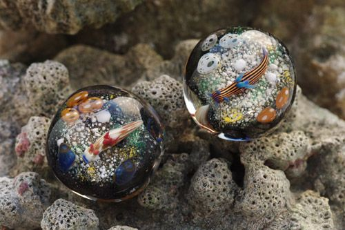 Sea slug in glass beads, Saigendo, Okinawa, Japan