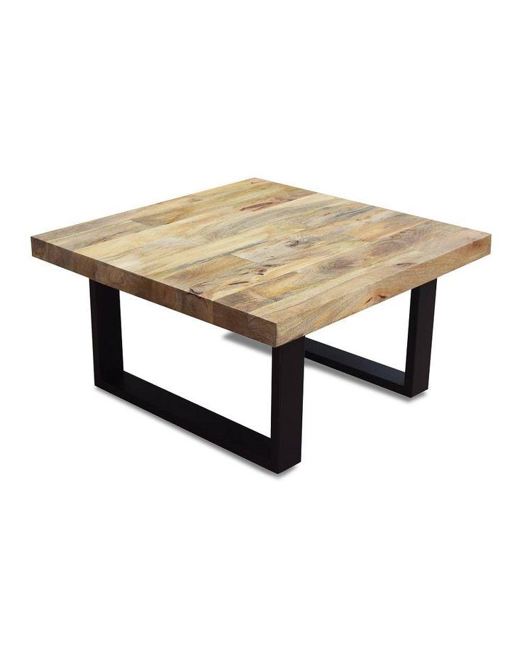 Sofabord i Naturtræ - Flot kvadratisk sofabord til stuen