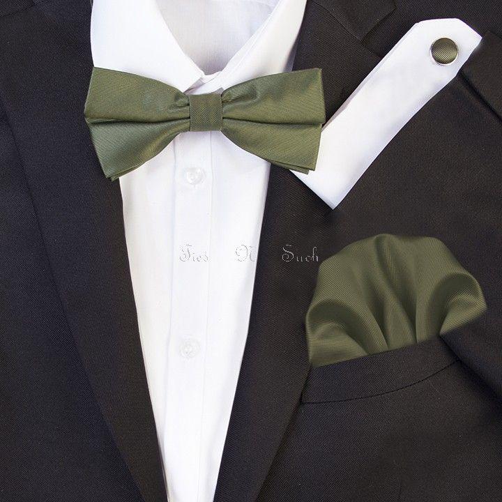 Dark Olive #Green_Wedding #Bow_Tie Set