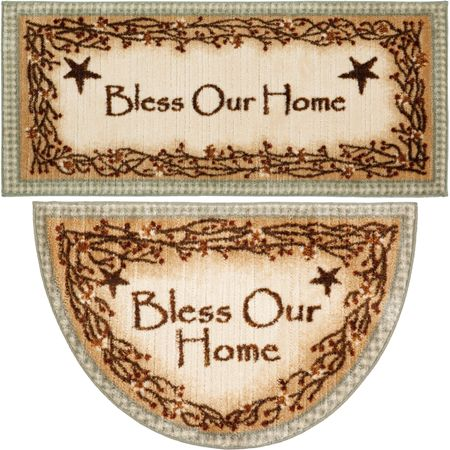 """Delectably-Yours.com Berry Blossom """"Bless Our Home"""" Non-Skid Washable Kitchen Throw Rugs - Sage - Runner 20"""" x 44"""" or Slice / Half Moon 19"""" x 31"""" by Brumlow Mills. Tall Rooster Kitchen Throw Rug Runner 20"""" x 44"""" or Slice / Half Moon 19"""" x 31"""" by Brumlow Mills. #DelectablyYours #Kitchen #Rug #Primitive #Berries #Country #Decor"""