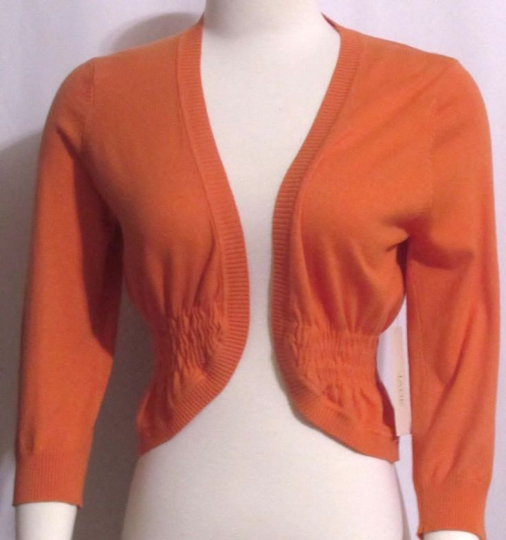NEW Womens Ladies JADE Orange Stretchy Knit Open Shrug Sweater Top L Orig $69 #Jade #STRETCHYOpenShrugSweaterTop #VERSATILE