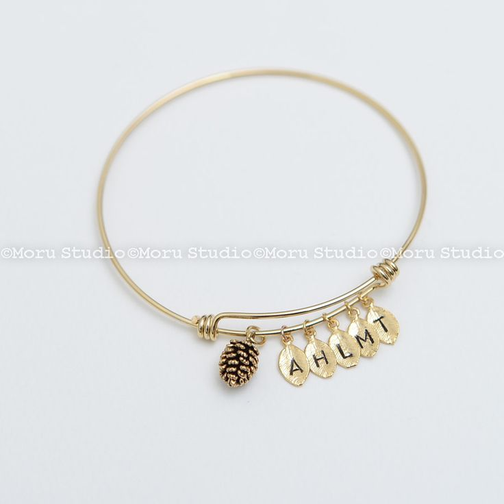 Pinecone Bangle with Initial Leaf - Silver,Gold, Rose Gold. Pine Cone Bracelet, Bee Bracelet, Initial Bracelet, Personalized BCR080 by MoruStudio on Etsy