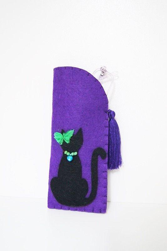 SALE Purple Felt Eyeglass Case in Cat and tassel, Mother's day gft, Felt case, Cover E... $18