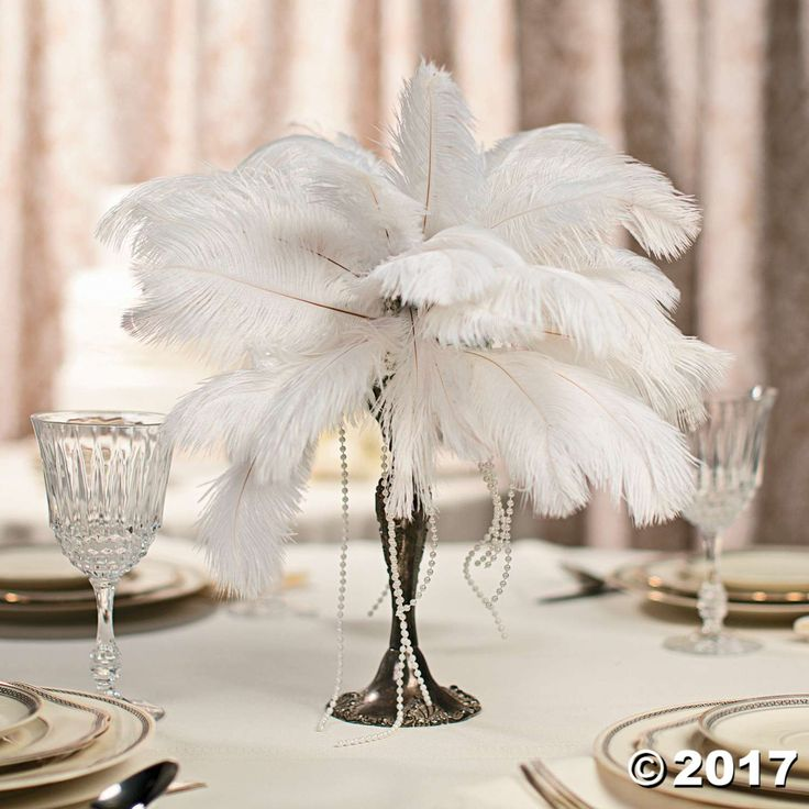 Feather Centerpiece Idea  Great Gatsby Party  Feather centerpieces DIY Centerpieces Wedding