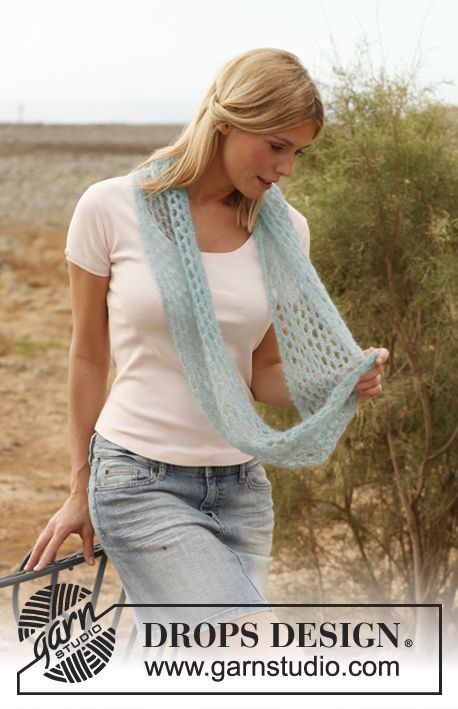 "Petula - Knitted DROPS neck warmer in ""Vivaldi"". - Free pattern by DROPS Design"
