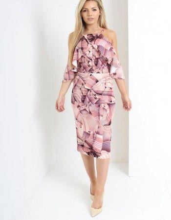 Kevan Jon Pink Pearl Frill Dress in Pink-