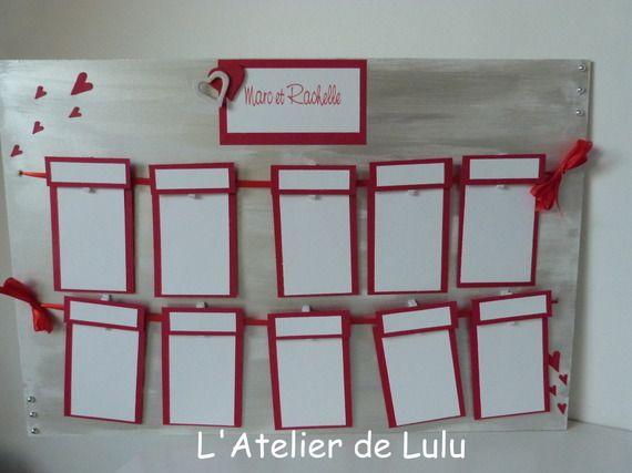 """plan de table personnalise mariage """"coeurs rouges """""""
