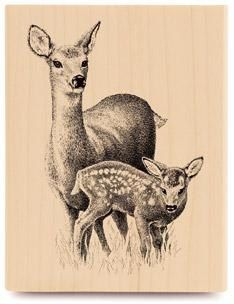 Deer And Fawn Rubber Stamp WM 325x 25 By Dragonflybuzz On Etsy 825