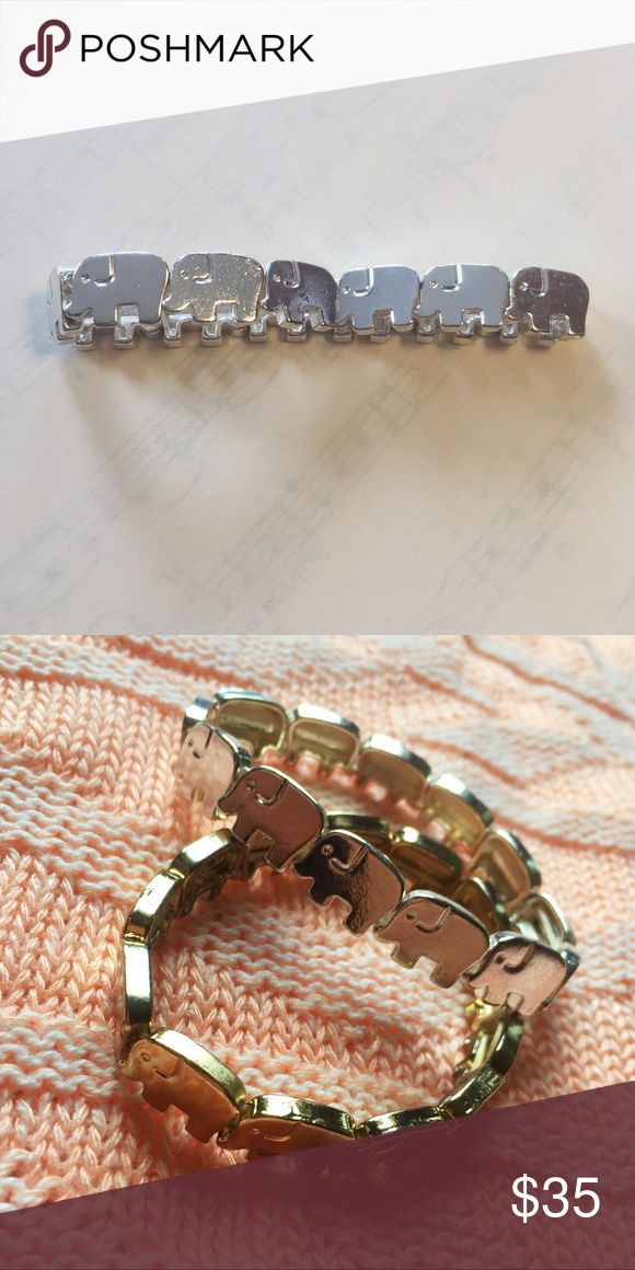 Vintage silver elephant bracelet ⋈ Stretchy for an easy fit ⋈ Silver version also available ⋈ Minor discoloration ⋈ Unknown metal ⋈ Price is negotiable! Vintage Jewelry Bracelets
