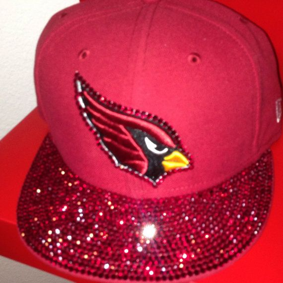 Arizona Cardinals Fitted hat all red with red Swarovski Crystals covering the full brim