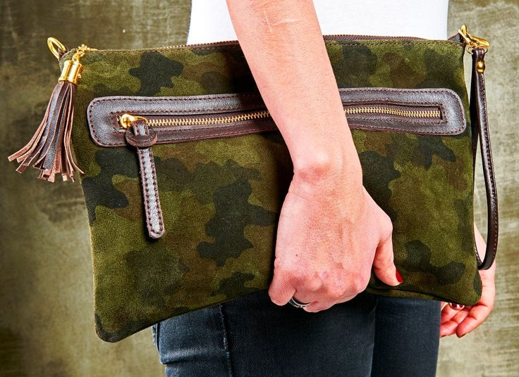 Green Camouflage Suede Clutch; Suede Clutch; Camouflage Clutch with Tassel; Handmade Clutch by HELIXSIS on Etsy
