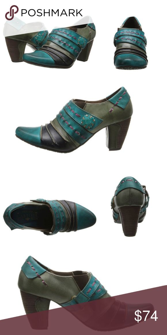 """Spring Step L'artiste booties! ❤️ Wonderful & unique & eclectic leather booties in turquoise by Spring Step l'artiste, Sz 40, US Sz 9. """"A trio of colors artfully combined in a cascade of antiqued leather...two straps grace the upper front, marked by leather basting stitches & a vintage look button of wood & metal"""" Rubber outsole (no slipping in these:-) padded footbed - worn just once & Still full price on every website out there  will be adding more pics soon. ❌trades Spring Step L'artiste…"""