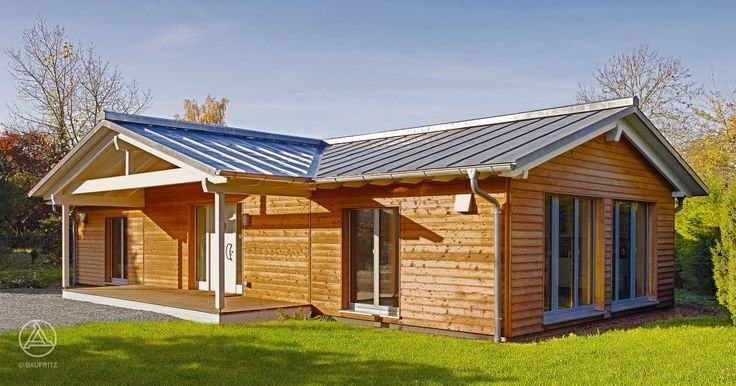 baufritz bungalow bungalow holzhaus mit holzverschalung naturbelassen ...