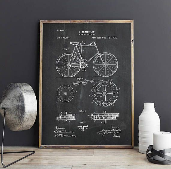 Bicycle Patent Print Bicycle Gearing Patent Velocipede Wall