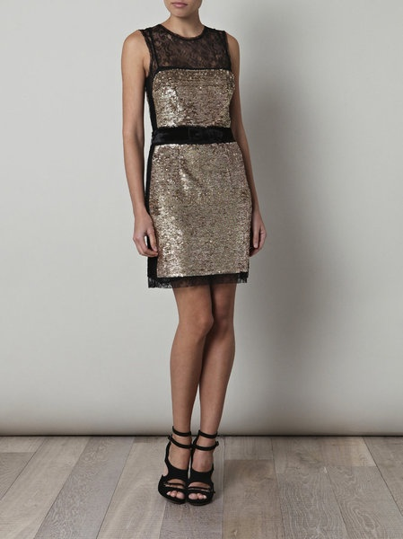 D Sequin And Lace Dress in Gold (black)