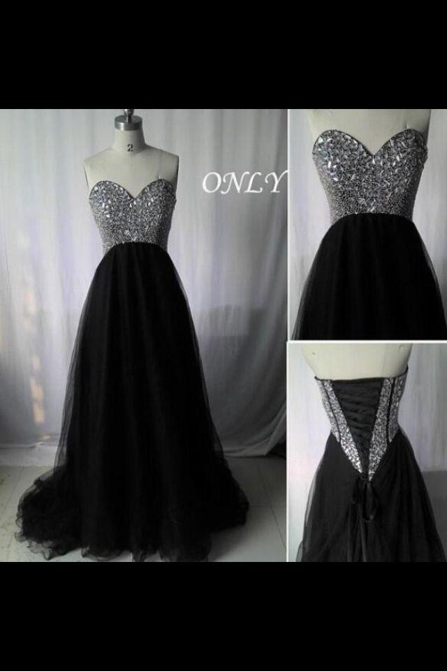 Black and glitter long prom dress