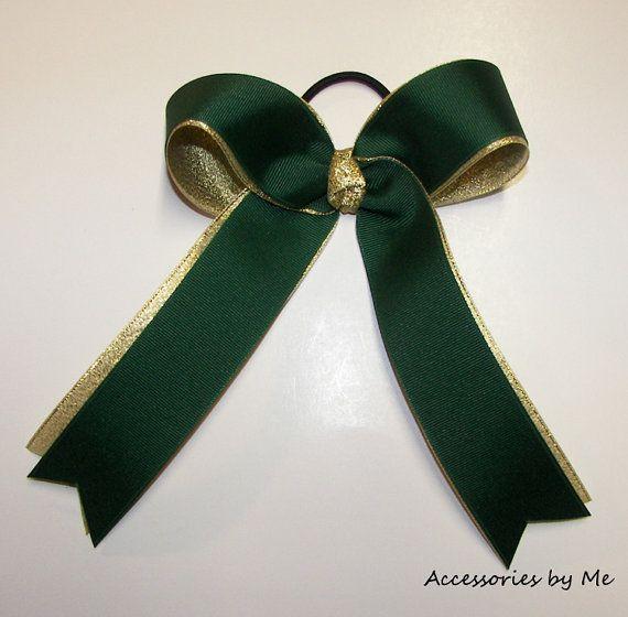 Green Gold Ponytail Holder Girls Children Teen by accessoriesbyme