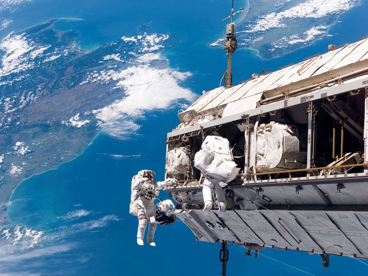 ISS and astronaut