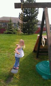 Thrifty Treasures: How to make a skateboard swing. Yay, this one shows how they attached it to the swing set! This can go in the same place as our current baby swing so they can be switched out as needed.