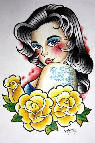 Old School Pin Up Girls | Pin up old-school! - OBSTATTOO ENDEREÇO: Konstru Auto Posto Av ...