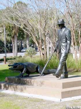 Hilton Head Island, South Carolina: Man Walks with Gator