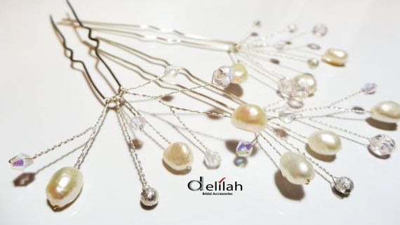 Bridal Hair Pins Set of 3 Pearl Hair Pin by BridalShopDelilah