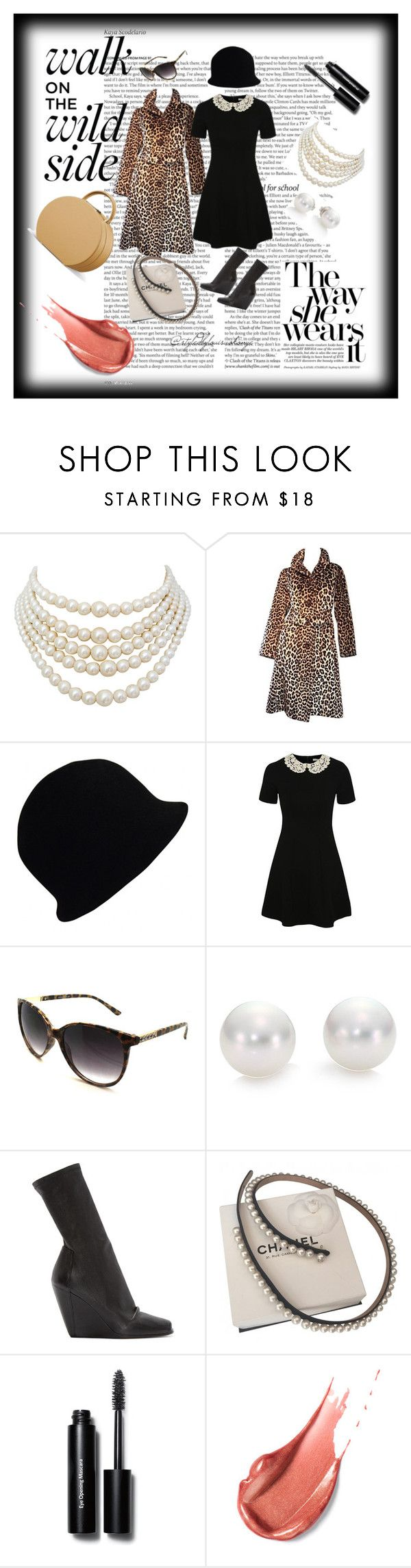 Leopard.... by louisaokonye on Polyvore featuring George, Karl Lagerfeld, Rick Owens, Christian Dior, Mikimoto, Chanel, Fantas-Eyes, Bobbi Brown Cosmetics, ASOS and dress #dress #blackdress #leopard