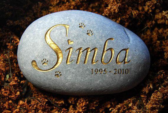 Engraved pet memorial stone personalised cat by StoodleyJones