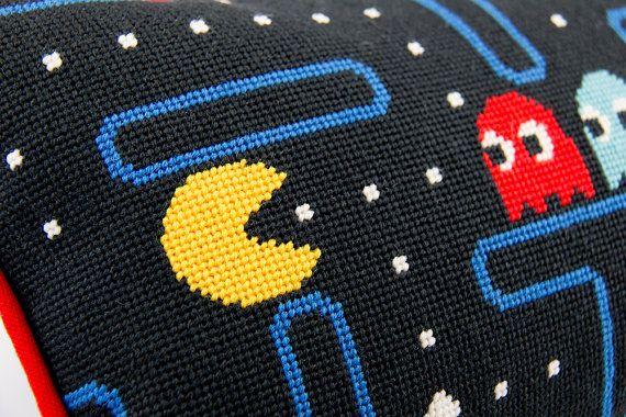 Pacman Needlepoint Kit Pac man Pillow Gamer Crafts Kit