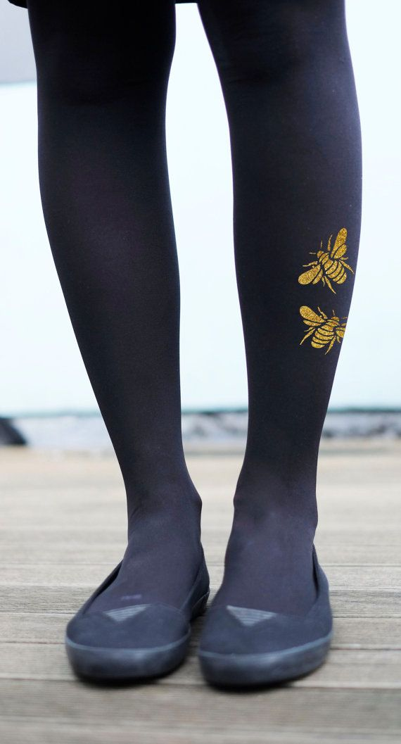 Goud- of zilverkleurig Bee panty - afgedrukt Insect panty