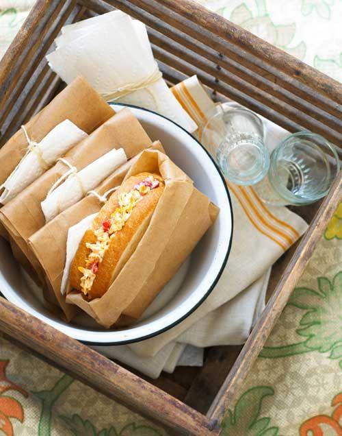 Idea para servir los sandwiches en un picnic