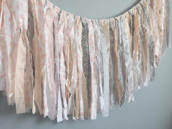peach gray fabric garland / peach gray nursery garland / peach baby shower/ peach fabric banner / pe