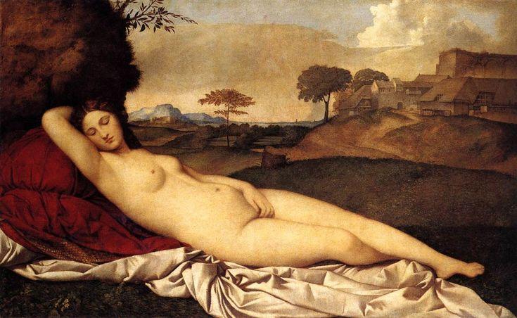 Venere Dormiente Autori:Giorgione-Tiziano Data:1507-10 Dove:Gemaldegalerie Altemeister,Dresda