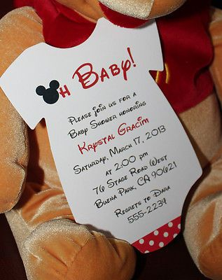 Mickey Mouse Onesie Baby Shower Invitation - All Wording Customized for You!!