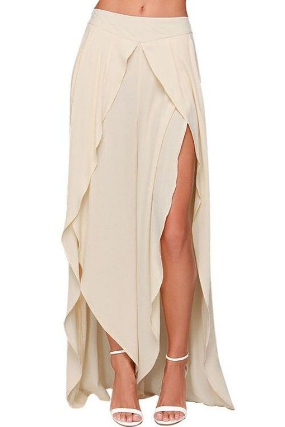 Beige Plain Split Chiffon Long Pants
