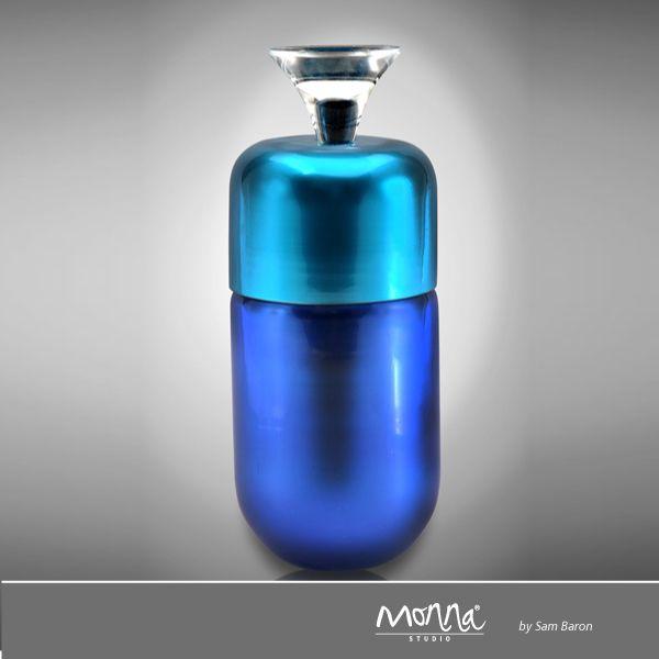 Trompette Elle design Sam Baron  CODE : SB0211 SIZE : 20cm 8'' DESCRIPTION : Glass/Crystal Box COLOR : Night Blue&Turquoise