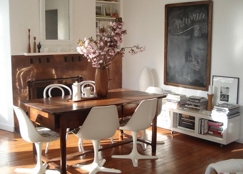 Eclectic Dining Chairs Mixed With Farm Table Super Cute Chalkboard Too
