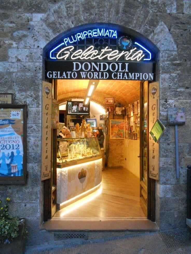 Gelateria Dondoli, San Gimignano, Italy - World Champion winning gelato with such amazing flavors as Nocciola, Saffron, and White Wine.